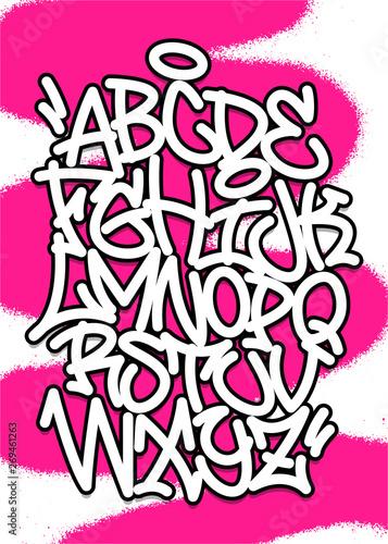 Handwritten graffiti font alphabet  Vector illustration set