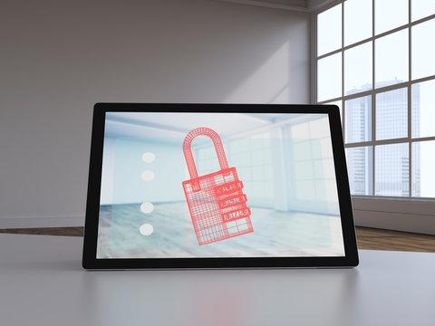 D rendering, Virtual lock on display of a digital tablet
