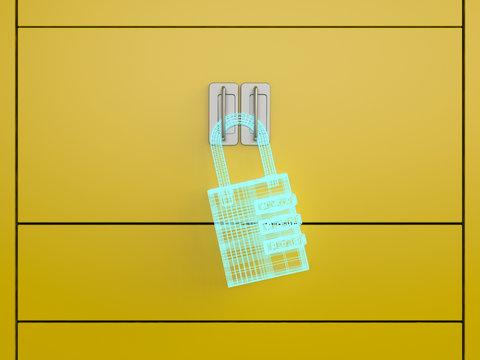 D rendering, Hologram of a U-lock on a locker