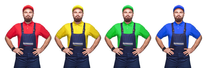 Portrait of young bearded confident with working clothes, four different color t-shirt and cap standing and holding hands on waist, smiling. indoor studio shot isolated on white background, copy space