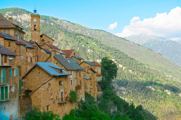 Spectacular wilderness surrounds an old medieval village in French countryside.