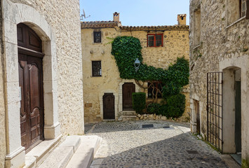 CLOSE UP: Green ivy slowly overgrowing an old stone house in a medieval town.