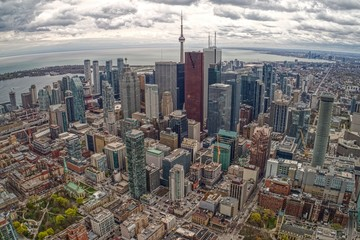 Wall Murals Toronto Aerial View of Toronto Skyline from Tour Plane in Early Summer