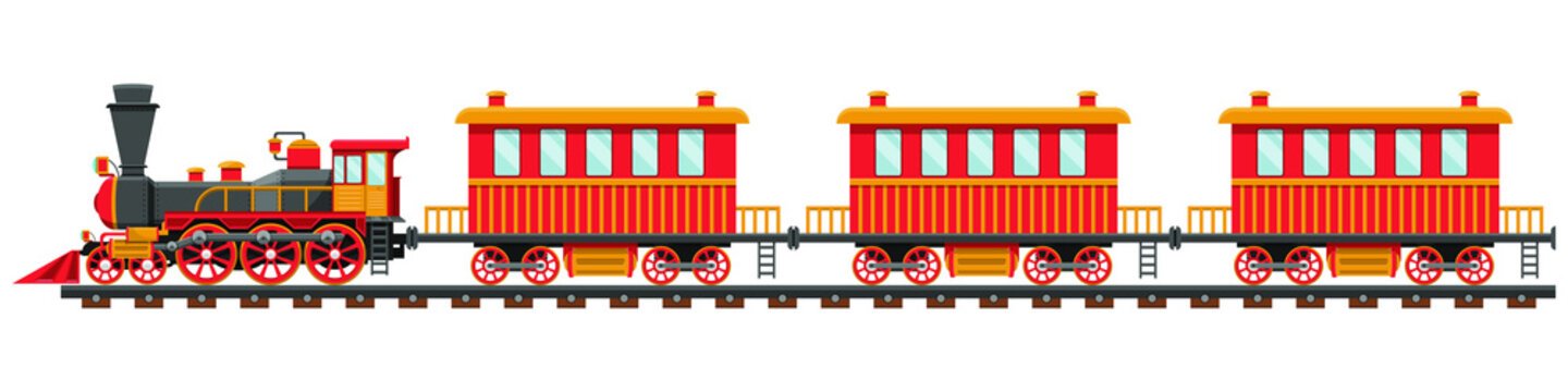 Vintage train on railroad vector design illustration isolated on white background
