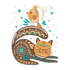 Folk art vector cat and bird.