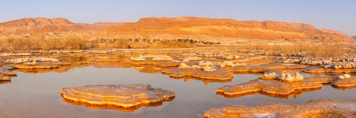 Dode Zee Panorama Israël zout eilanden zonsopgang ochtend landschap natuur
