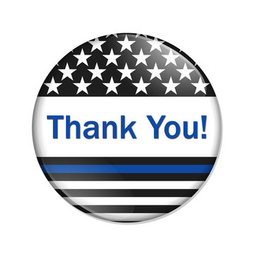 Thank you message on an American thin blue line badge button