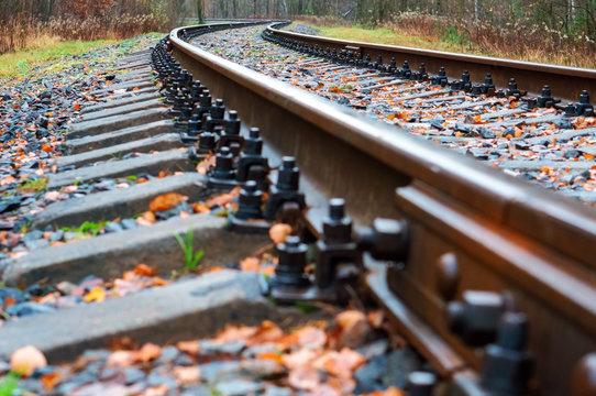 railway rails turn, railway tracks and sleepers
