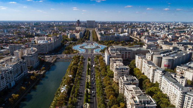 Aerial footage of Bucharest downtown