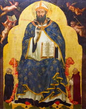 Pavia, Italy. 2017/11/11. The painting of Saint Augustine. Painted in XIV century (1330s-1340s) by Jacobello di Bonomo. Currently in Castello Visconteo.