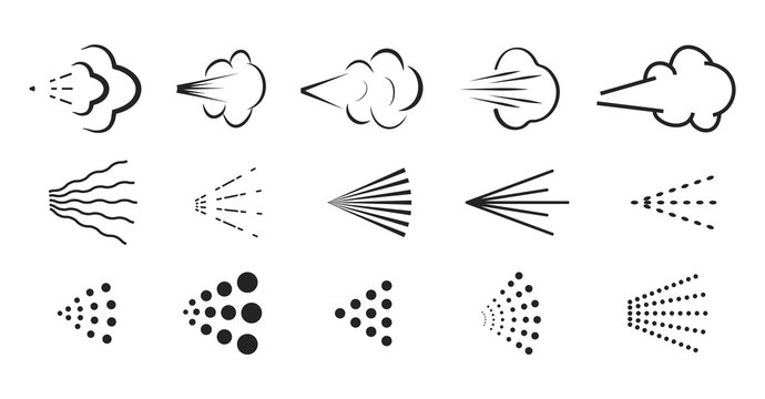 Spray vector icon. Spray icons set of water or air sprayer nozzle for paint aerosol or deodorant spray