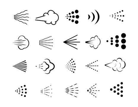 Spray big set icons. Spray of water, perfume, paint or deodorant spray.