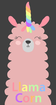 Cute lama with a unicorn horn in the color of the rainbow. Lamacorn. in the Scandinavian style.