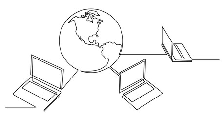 continuous line drawing of laptop computers connected to the world