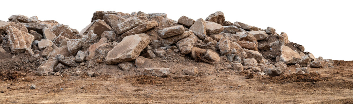 Isolated views of concrete debris piles on the ground.