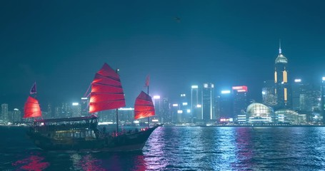 Wall Mural - Hong Kong at night, Victoria Harbor