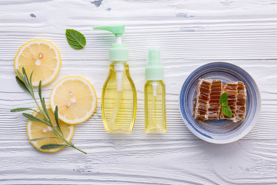 Natural herbal skin care products. Skin care ingredients on table concept of the best all natural face moisturizer. Facial treatment preparation background.