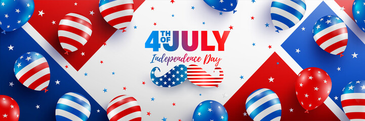 4th of July poster template.USA independence day celebration with American balloons flag.USA 4th of July promotion advertising banner template for Brochures,Poster or Banner.Vector illustration EPS 10 Wall mural