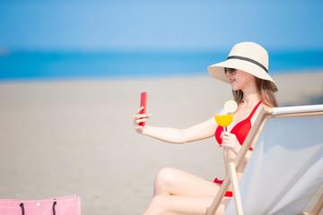 bikini woman take selfie