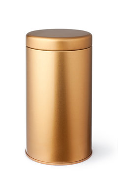 Golden metal tube isolated on white background.
