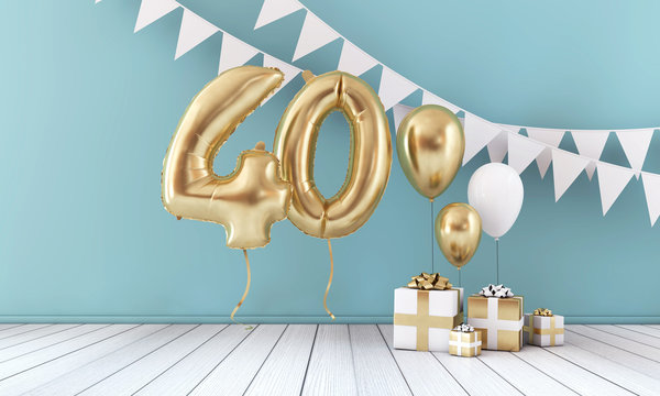 Happy 40th birthday party celebration balloon, bunting and gift box. 3D Render