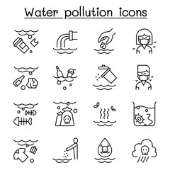 Water pollution, Contaminate, dirty icon set in thin line style