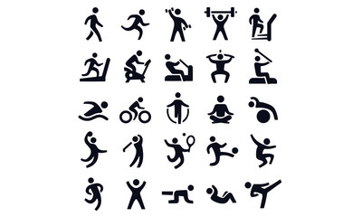 Active lifestyle people and vitality vector icon set Wall mural