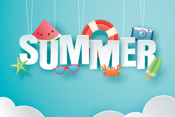 Hello summer with decoration origami hanging on blue sky background. Paper art and craft style. Vector illustration of life ring, ice cream, camera, watermelon, sunglasses. Fotomurales