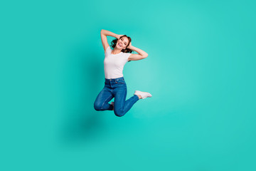 Wall Mural - Full length body size view of her she nice-looking attractive lovely careless cheerful cheery wavy-haired lady having fun enjoying summer time isolated on bright vivid shine blue background