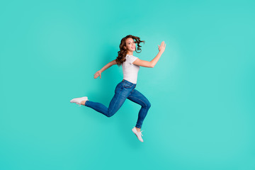 Wall Mural - Full length body size profile side view of her she nice-looking attractive lovely cheerful cheery wavy-haired lady going to shop mall sale discount isolated on bright vivid shine blue background