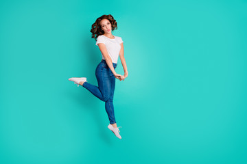 Wall Mural - Full length body size view of her she nice attractive sweet lovely flirty adorable cheerful cheery carefree slim fit thin slender wavy-haired lady having fun isolated on bright vivid shine blue