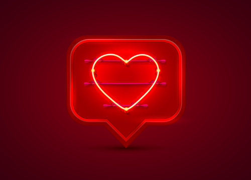 Neon frame chat sign in the shape of a heart.