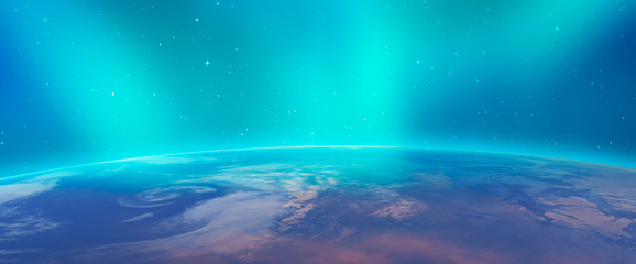 """Northern lights aurora borealis over planet Earth """"Elements of this image furnished by NASA"""""""