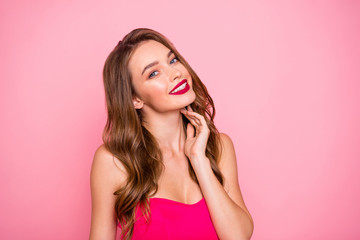 Close up photo amazing beautiful she her lady attractive show ideal white teeth plump allure rose lips pomade lipstick wear cute shiny colorful dress isolated pink rose bright vivid background