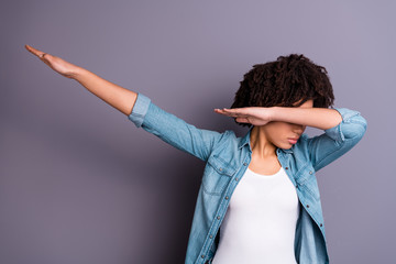 Fototapete - Photo portrait of confident charming she her lady making showing gesturing dab movement using hands isolated gray background