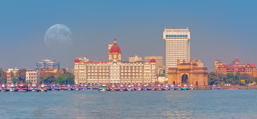 The Gateway of India and boats as seen from the Harbour - Mumbai, India Wall mural