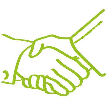 Handgezeichnetes Hände schütteln in hellgrün