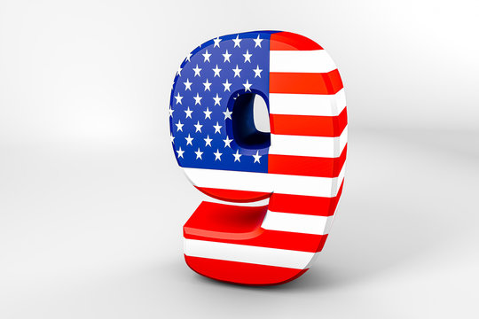 Number 9 with the American flag. 3D rendering - Illustration