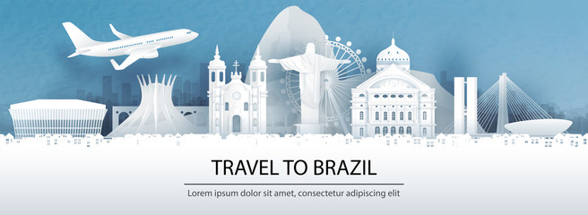Fototapete - Travel advertising with travel to Brazil concept with panorama view of Rio de Janeiro city skyline and world famous landmarks in paper cut style vector illustration.