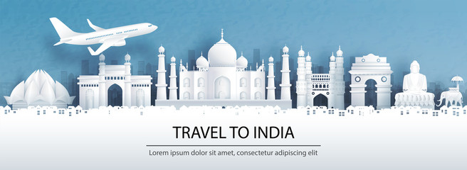 Fototapete - Travel advertising with travel to India concept with panorama view of Agra city skyline and world famous landmarks in paper cut style vector illustration.