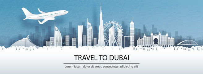 Fototapete - Travel advertising with travel to Dubai concept with panorama view of city skyline and world famous landmarks in paper cut style vector illustration.