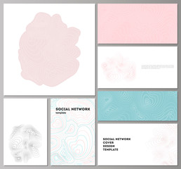 The minimalistic abstract vector illustration of the editable layouts of modern social network mockups in popular formats. Topographic contour map, abstract monochrome background.