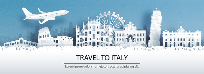 Fototapete - Travel advertising with travel to Italy concept with panorama view of city skyline and world famous landmarks in paper cut style vector illustration.