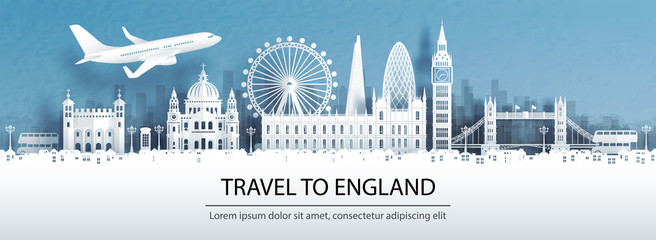 Wall Mural - Travel advertising with travel to England concept with panorama view of London city skyline and world famous landmarks in paper cut style vector illustration.