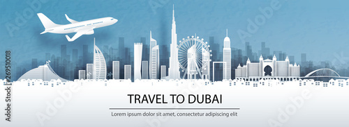 Fototapete Travel advertising with travel to Dubai concept with panorama view of city skyline and world famous landmarks in paper cut style vector illustration.
