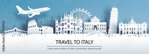 Fototapete Travel advertising with travel to Italy concept with panorama view of city skyline and world famous landmarks in paper cut style vector illustration.