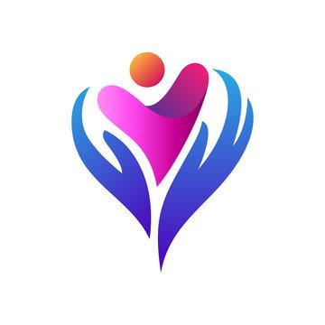 Love And Care Logo, Charity Logo,Foundation Logo, Hand + People/kids + Heart, Logo Template