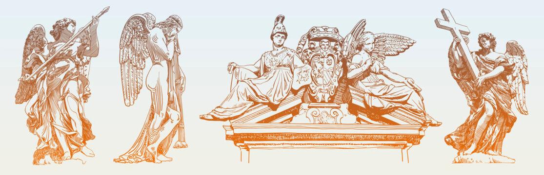 set of original sketch digital drawing of marble statue
