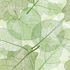 Seamless pattern with abstract  green leaves. Vector illustration.  EPS 10