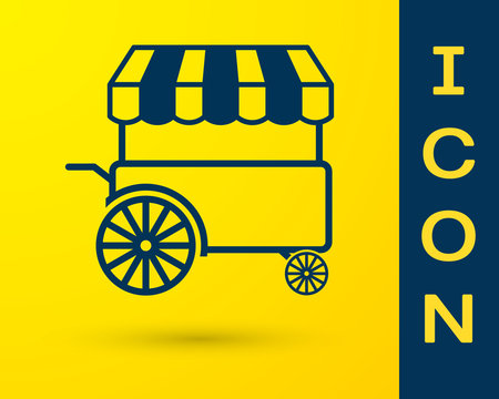Blue Fast street food cart with awning icon isolated on yellow background. Urban kiosk. Vector Illustration